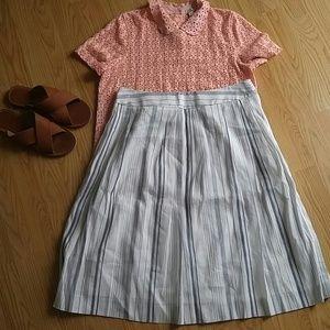 Brooks Brothers Dresses & Skirts - Brooks Brothers a-line pleated stripe linen skirt