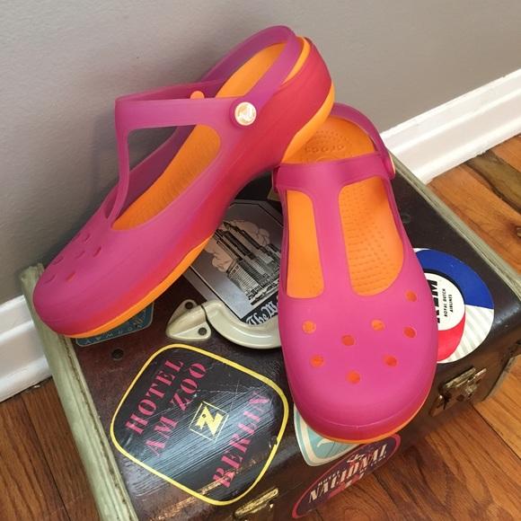 5a6fe6ba22fea CROCS Shoes | Jelly Carlie Mary Jane Pink Orange Sandals | Poshmark