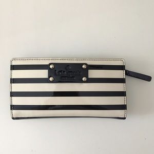 Kate Spade Black and White Striped Wallet