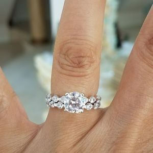 Jewelry - 14k gold plated Engagement Ring and Wedding Band