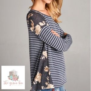 Navy floral and stripe long sleeve tee