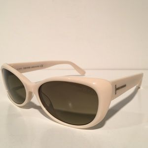 Tom Ford Accessories - Tom Ford Off White Oval Sunglasses