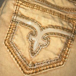 Rock Revival Denim - Rock Revival Blair Skinny Mustard Bling Jeans
