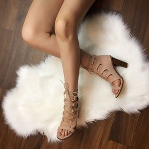 Caged Lace-up Heels