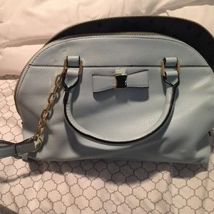Merona (from target) Blue and gold bow purse