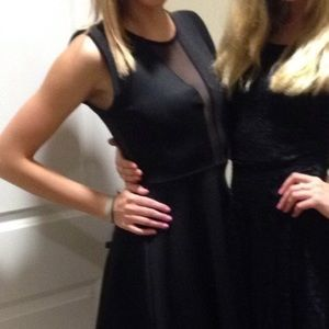 Lulu's Dresses & Skirts - Lulu's Black and Mesh Skater Skirt Dress Sz M