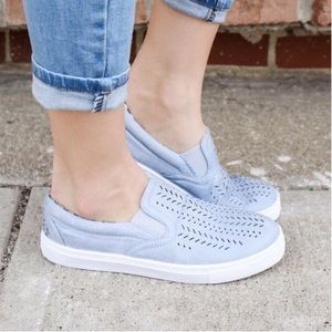 Peach Couture Shoes - ASH BLUE SLIP ON SNEAKERS
