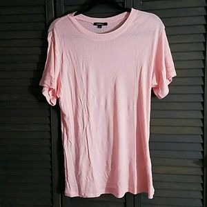 Ambiance Apparel Tops - Cute Ribbed Highneck Tee