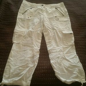 New York & Company white Cargo Capri pants