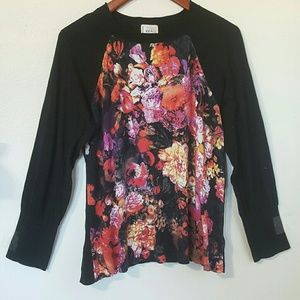 ECI Sweaters - ECI New York Floral Front, Solid Back Sweater XL
