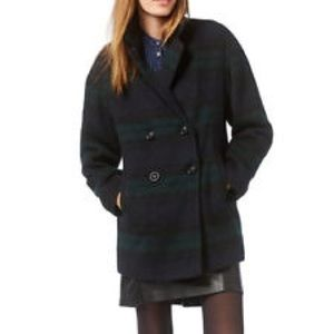 Wildflower Jackets & Blazers - Wildflower Navy And Green Plaid Wool Peacoat