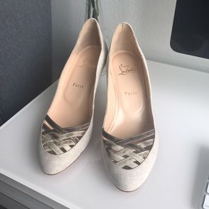 Christian Louboutin canvas kitten heels