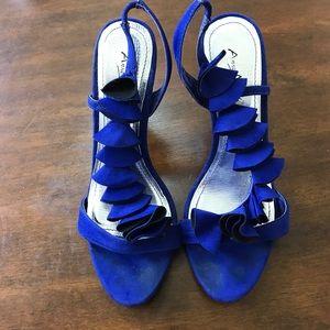 Anne Michelle Shoes - Royal Blue Velvet Heels