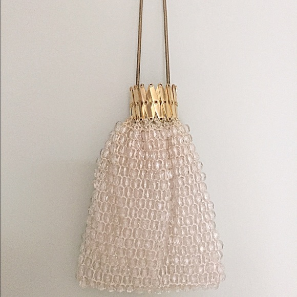 Vintage Bags - 1960s Clear Sparkly beaded Accordion closure Bag