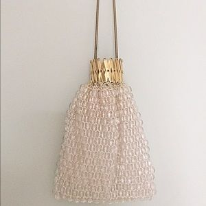 1960s Clear Sparkly beaded Accordion closure Bag