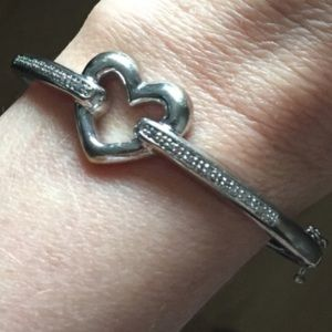 Zales Jewelry - Sterling Silver 925 Heart Bangle with Diamonds