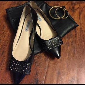 Classiques Entier Shoes - Black Leather Bow Flats