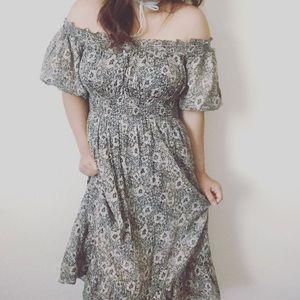 Free people off shoulder midi floral boho dress