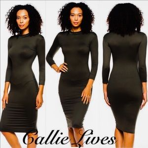 Callie Lives Dresses & Skirts - Black Mock Neck Long sleeve Midi Dress