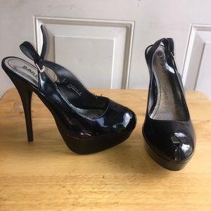 Bamboo Shoes - Black slingback platform stilettos. NEW w/o Tag.