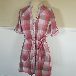 Oakley Tops - OAKLEY PINK PLAID BELTED BUTTON DOWN TOP