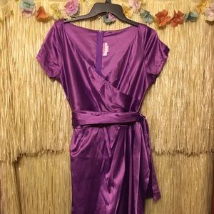 Pinup Girl Clothing Ava Wrap dress in Grape Purple