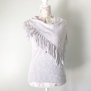 Central Park West Tops - Gray Fringe Tank Top