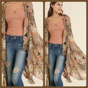 Umgee  Other - Open Front Kimono with Split Hemline