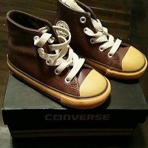 Converse Other - Converse  Leather Hi top Shoes...New w/Box!