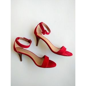 Talbots Shoes - Talbots Red Suede ankle strap heels size 8