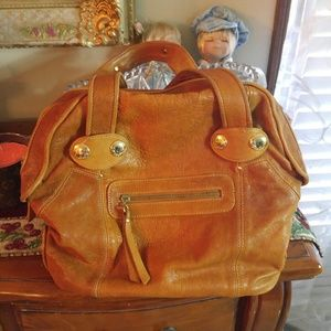 Gustto Handbags - GUSTTO Leather Cognac color bowling style bag
