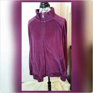 Macy's Tops - Burgundy Velour like Zippered Jacket