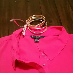 American Eagle Outfitters Tops - American Eagle Pink Blouse and Bangle Set!