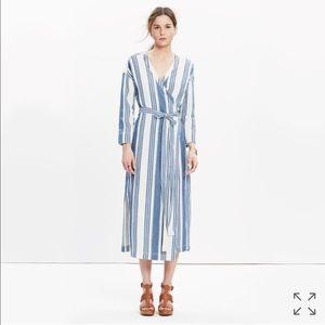 Madewell Dresses & Skirts - Madewell Wrap Midi Dress in Linn Stripe