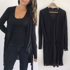DKNY Sweaters - DKNY Black Linen Long Cardigan