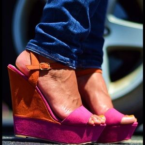 Color Block Popsicle Platform Wedges