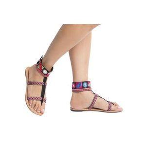 SHOEROOM21 boutique Shoes - Ladies high top ankle band flat sandals. Black
