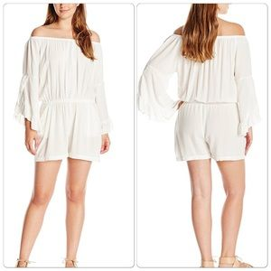 Democracy Pants - Flounce Sleeve Romper with Crochet Yoke