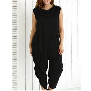 Pants - PLUS Black Cowl Neck Jumpsuit