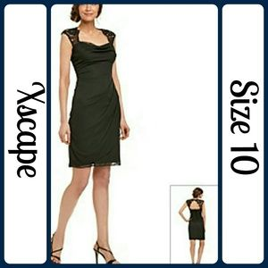 Xscape Dresses & Skirts - Black Sleeveless Lace-yoke Ruched Sheath Dress