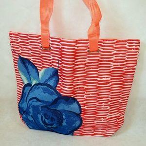 Lancome Handbags - Lancome orange and blue rose tote bag