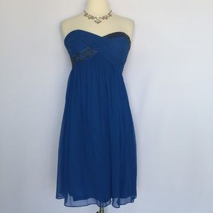 Maggy London Dresses & Skirts - Maggy London 100% silk blue beaded strapless dress