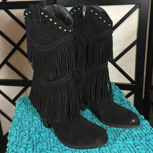 Reba Shoes - Reba Fringed Black Cowboy Boots Side Zipper