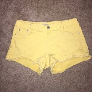 Tractr Pants - tractr Cut Off Denim Shorts in Buttercup Yellow
