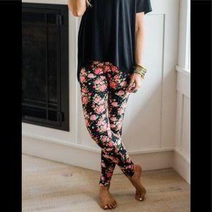 Three Bird Nest Pants - 3BN Floral Rose Print Leggings