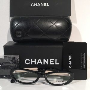 CHANEL Accessories - Chanel Black And White Leather Oval Eyeglasses