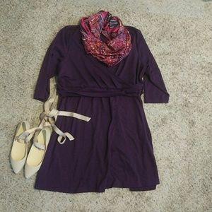 Lands' End Dresses & Skirts - Plum faux wrap dress