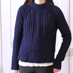 Zara Cable Knit Navy Blue Sweater