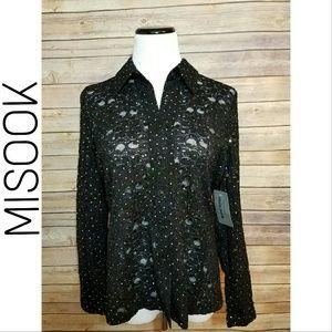 Misook Tops - NWT MISOOK Black Floral Lace Embellished Blouse
