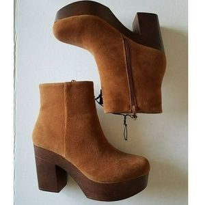Tan Brown Suede Chunky Wide Heel Boots Western 10